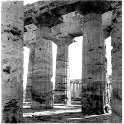 Poséidonia-Paestum, temple de Poséidon, colonnes de l'intérieur.
