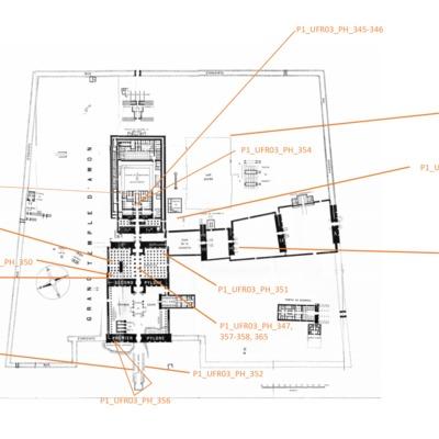 """Localisation des photos de la collection """"Karnak, Égypte""""  sur le plan du sanctuaire d'Amon."""