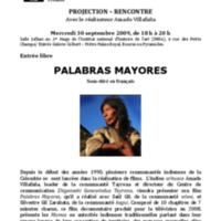 """Affiche Projection """"Palabras Mayores"""""""