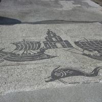 Ostie, place des corporations, mosaïque du phare du port de Claude