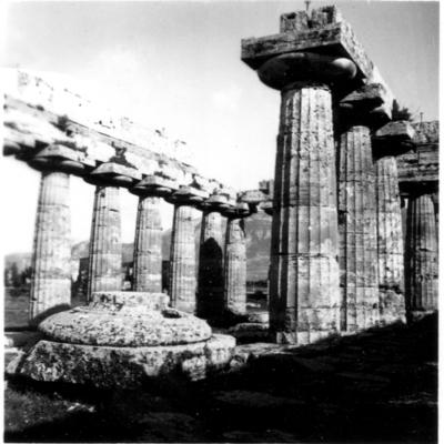 Poséidonia-Paestum, temple d'Héra, péristasis Nord et intérieur de la cella.